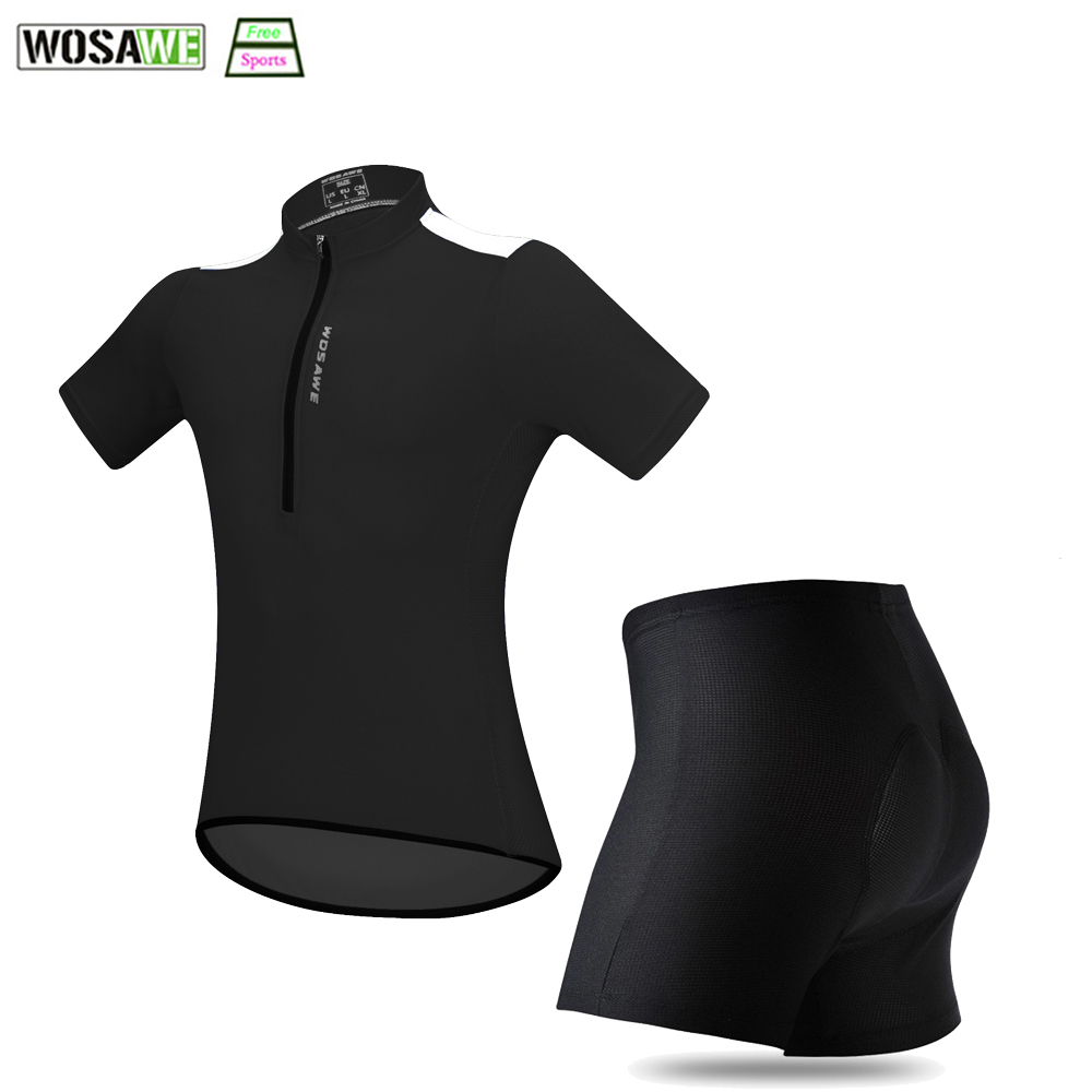 WOSAWE Summer Cycling Jersey Shorts Clothing Set Men Women Bicycle Breathable Quick Dry Padded Downhill Mtb Riding Clothes
