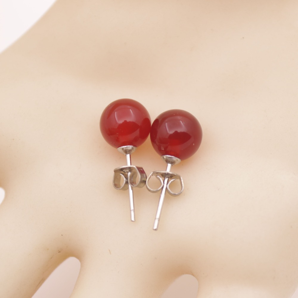 Купить с кэшбэком 6mm 8mm 10mm Round Natural Agate Earrings AAA Onyx Silver Studs Fashion Jewelry Red Black Choose