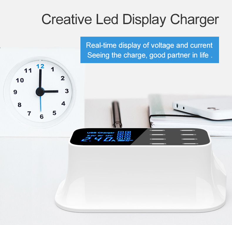 Universal 8 Ports Smart USB Charger Station Hub Led Display charger (2)