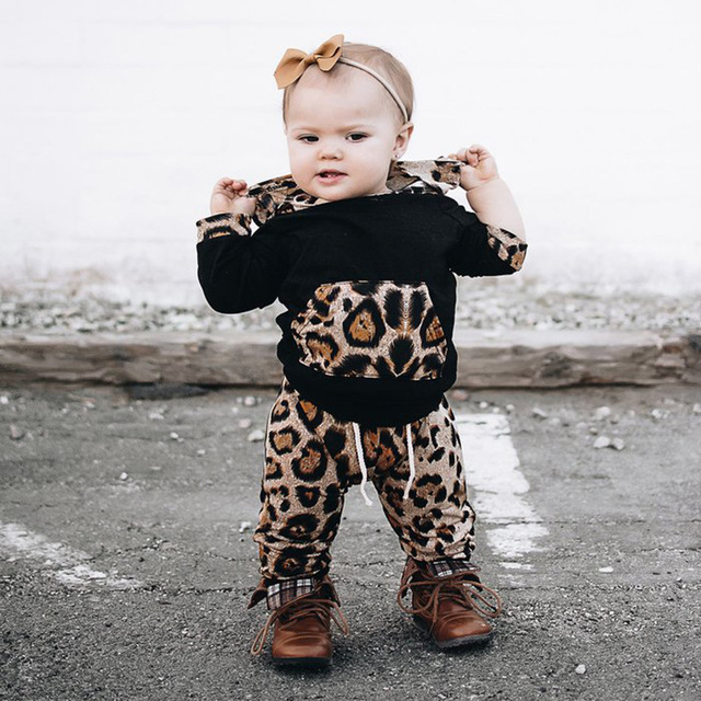 004b3fd740ad Infant Toddler Newborn Baby Girl Clothes Leopard Coat Hoodie Tops ...