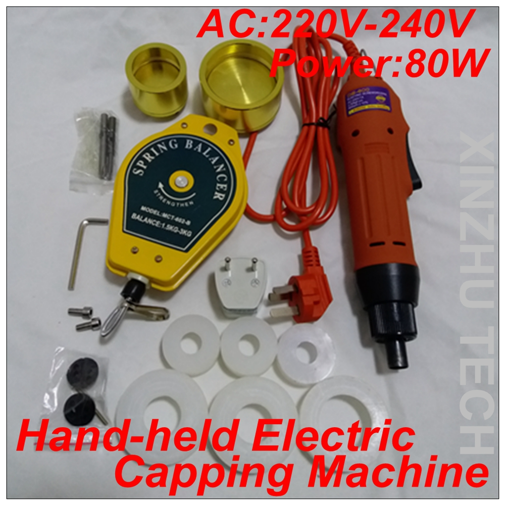 Hand-held Electric Capping Machine Precsion Screwdriver Capper AC220V With 6 Rubber Insert For 10-50mm Cap 1000rpm free shipping rg i hand held electric capping machine for customize cap