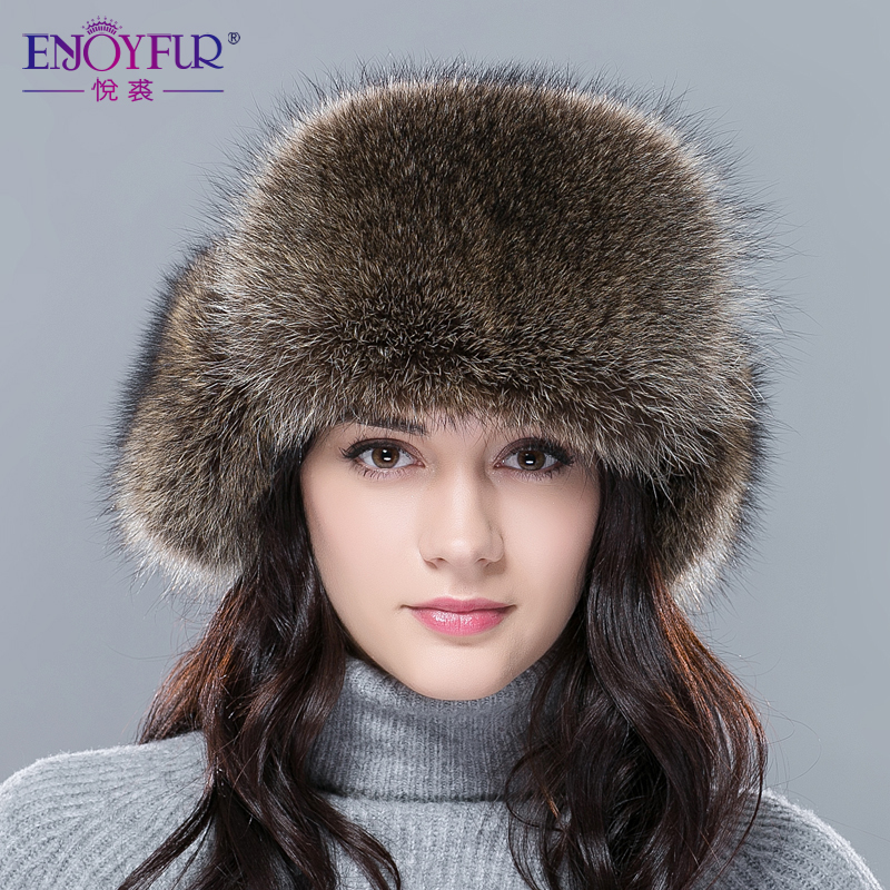 6c865707773 New hot winter fur hat for women real fox raccoon fur hat with leather 2018  Russia fashion warm bomber cap luxury good quality-in Bomber Hats from  Apparel ...