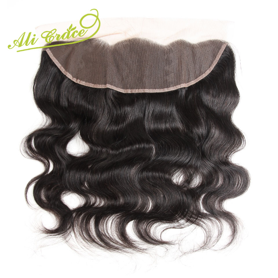 ALI GRACE Hair Malaysian Body Wave 13X4 Lace Frontal Middle Free Part Remy 100 Human Hair