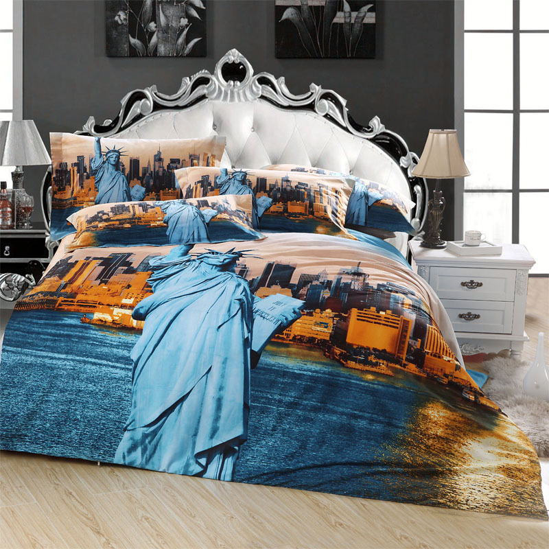 Statue of Liberty 3D New York Scenic City Bedding Set