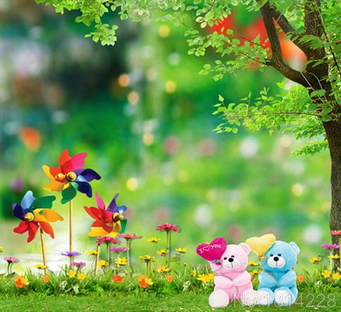 3x5ft Green Grass Flowers Garden Tree Love Bears Pinwheels Baby Kids Photography Studio