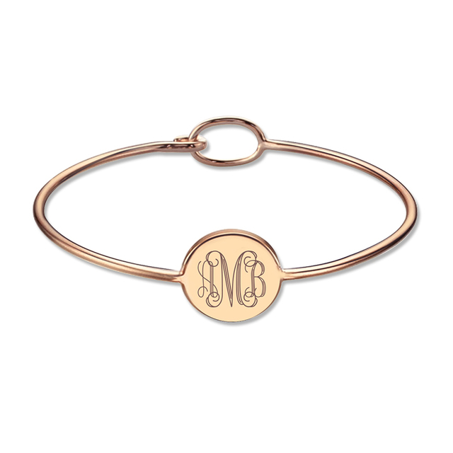 Engravable Monogram Bangle Bracelet Rose Gold Plated Personalized Round Monogram Initial Bracelet Birthday Gift