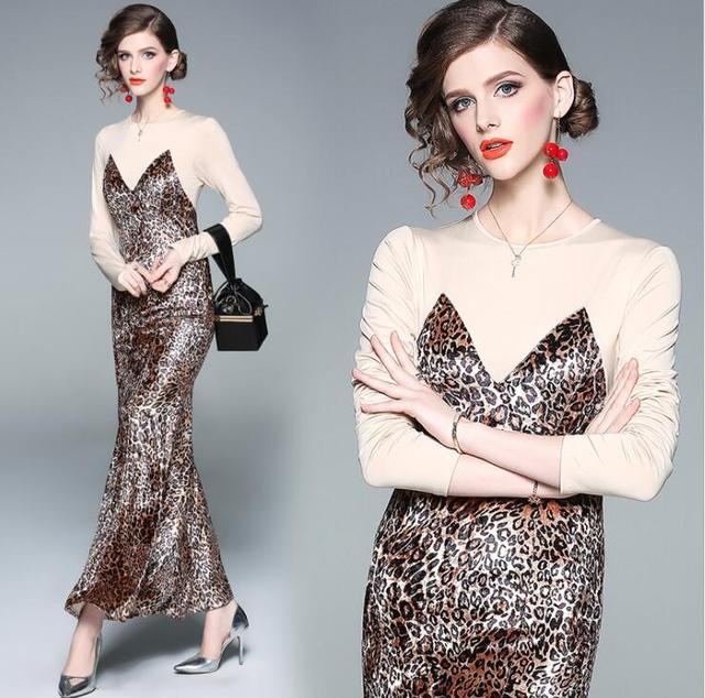 307ed62cca6687 High Quality New Long Sleeve Slim Long Dress Plus Size Women Elegant  Leopard Print Causal Party