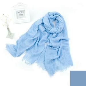 Image 5 - 10 teile/los frauen maxi crinkle hijabs schals oversize kopf wickelt weiche lange muslimischen ausgefranste crepe premium baumwolle plain hijab schal
