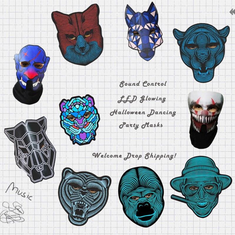 Cara completa Halloween máscaras del partido del baile voz Sound Control LED flexible luz fría máscara de partido cubierta resplandor ardiente en oscuro
