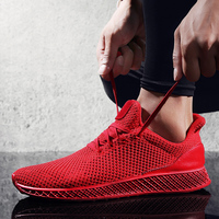 New Simple Men Spring Autumn Running Shoes Breathable Comfortable Mesh Black Red Gray Sneakers Male Outdoor