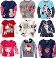 Marca de varejo 2016 Novos 100% Algodão Crianças Roupa Criança Roupas Blusa para o bebê Meninas T camisas Top Longo Seeve Flor Primavera Outono