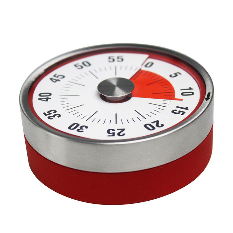 Mechanische Kochen Alarm Zähler Uhr Backen Erinnerung Edelstahl Manuelle Countdown-Runde Form Magnetic Küche Timer