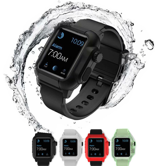 best sneakers da552 fafb0 US $15.68 36% OFF|Luminous Silicone Sport Strap For Apple Watch band  waterproof case 42mm Iwatch Series 3 2 wrist bands Bracelet Protective  cover-in ...