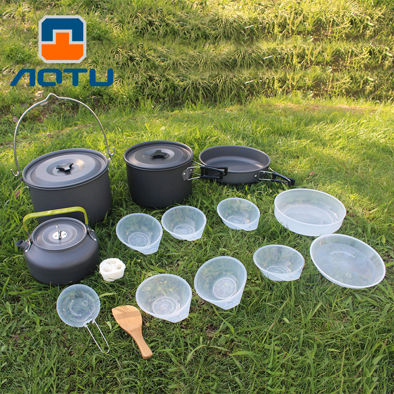 Camping Outdoor cookware set camping tableware cooking pan pot set travel tableware Cutlery Utensils hiking picnic set-in Outdoor Tablewares from Sports & Entertainment    2