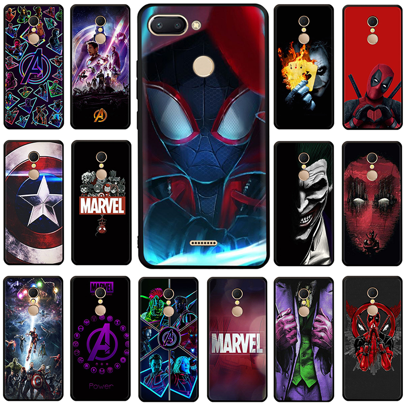 <font><b>Marvel</b></font> The Avengers Jorker Dead Pool Silicone phone <font><b>case</b></font> for <font><b>Xiaomi</b></font> <font><b>Redmi</b></font> 5A 6A 5 Plus 6 Pro 7 GO <font><b>Note</b></font> 4X 5 6 7 8 Pro image