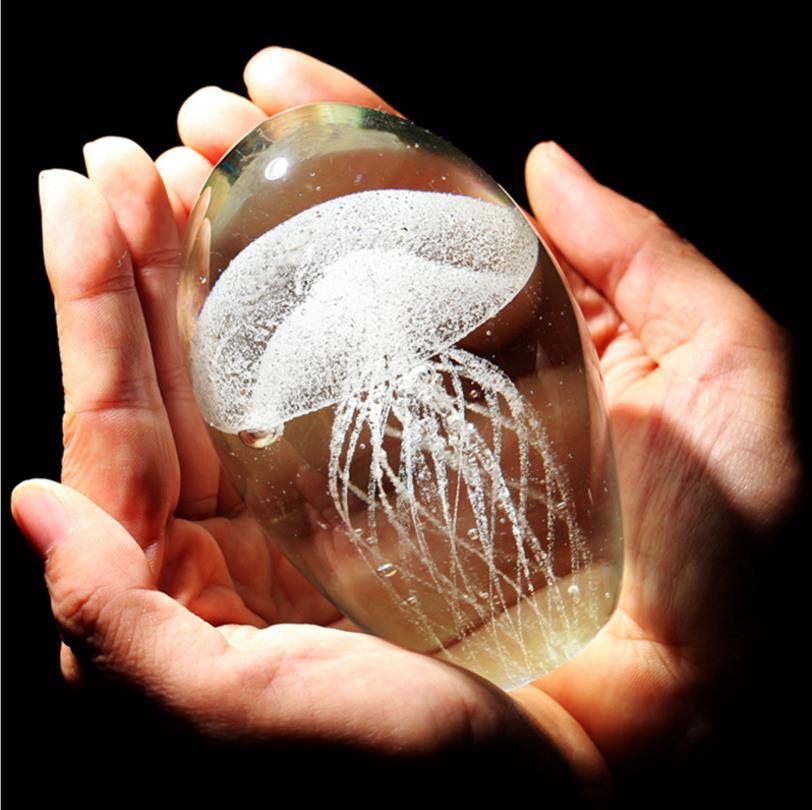Colored Handmade Glow Glass Jellyfish Paperweight Aquarium Crystal Figurines Home Decoration