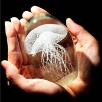 Colored Handmade Glow Glass Jellyfish Paperweight Aquarium Crystal Figurines Home Decoration