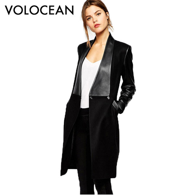 Aliexpress.com : Buy 2017 The New Stitching Leather Coat Women ...