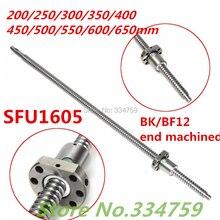 SFU1605 200 250 300 350 400 450 500 550 600 650 мм C7 шариковый винт с фланцевой одинарной шариковой гайкой BK/BF12 части ЧПУ