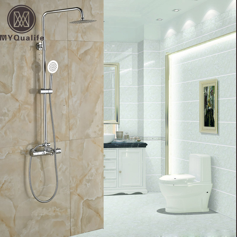 Modern Wall Mount Shower Mixer Faucet Dual Handle 8 Rainfall Thermostatic Bath Shower Faucet with Handshower chrome bathroom thermostatic mixer shower faucet set dual handles wall mount bath shower kit with 8 rainfall showerhead