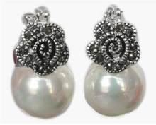 Jewelry Pearl Earring Lady's 12mm White Shell Pearl Flower Marcasite & 925 Silver fashion Earrings Free Shipping(China)