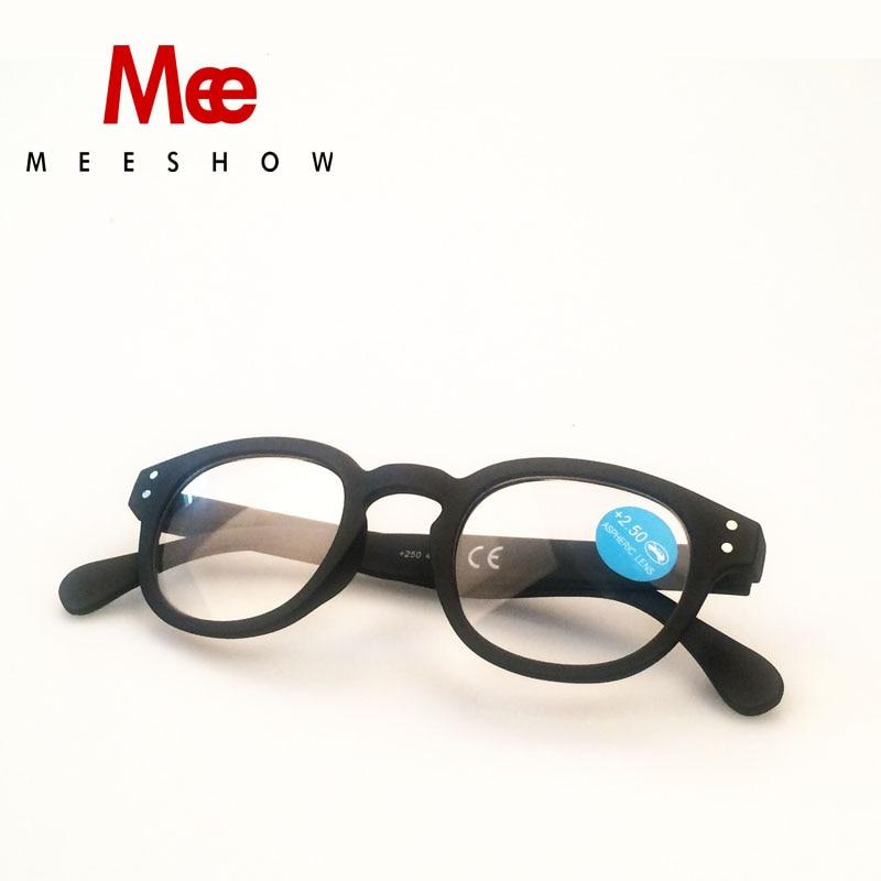 MEESHOW Óculos homens mulheres Moda Óculos de Leitura presbiopia rodada francês Gafas Lunettes de Palestra 1513 + 1.75 + 2.25