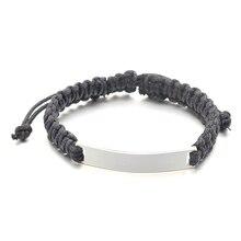 Для мужчин ручной черный плетеный браслет с полированный Нержавеющая сталь пустая ID доска