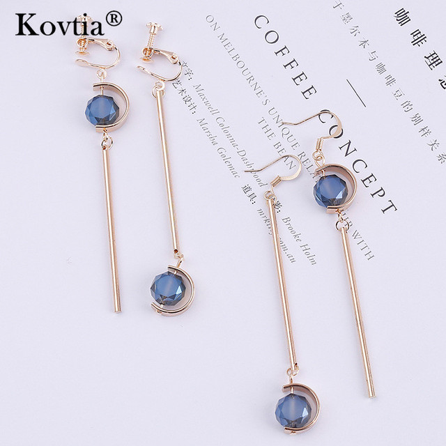 Fashion Blue Crystal Asymmetry Clip On Earrings Non Pierced Ear Clips Cuff For Women