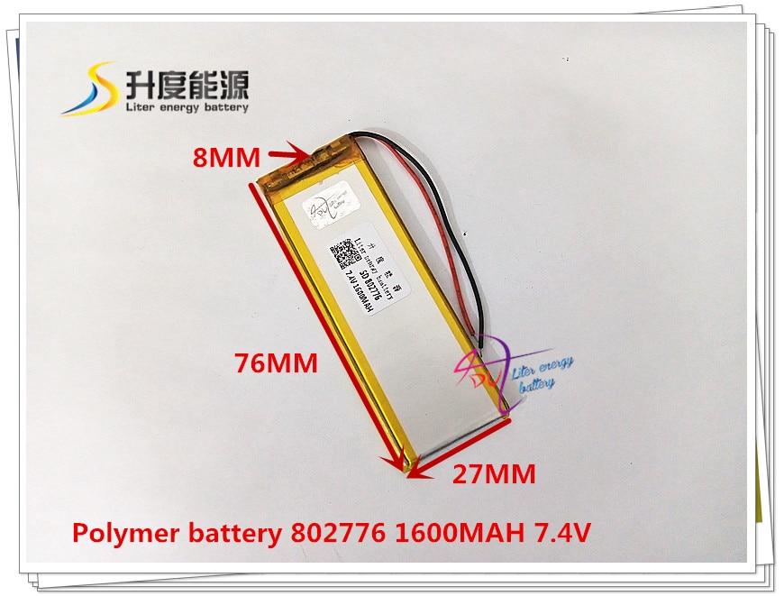 Tablet-akkus & Backup-stromversorgung Computer & Büro 7,4 V 1600 Mah 802776 Polymer Lithium-ion/li-ion Batterie Für Gps Mp3 Mp4 Handy Lautsprecher Dvr Recorder