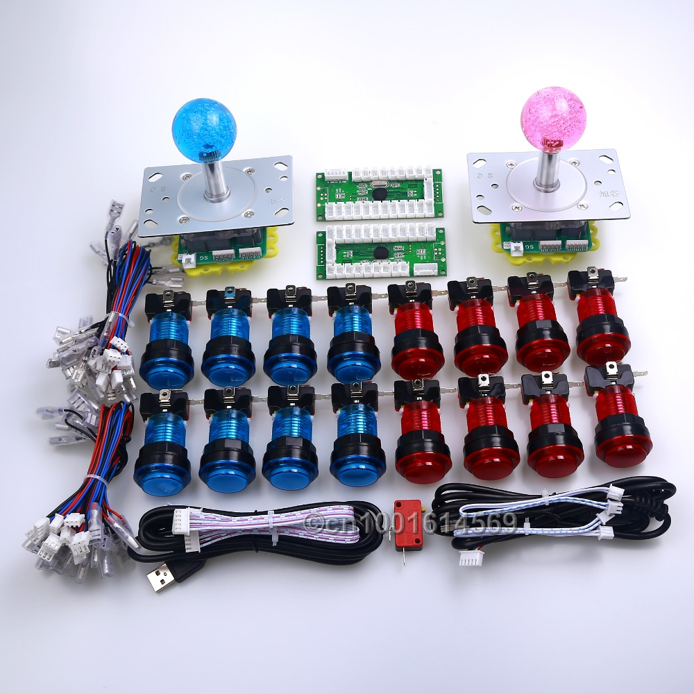 New Arcade DIY Kits Parts USB PC Encoder + 5 Pin 2/4/8 Way Joysticks + 16 x LED Light Illuminated Push Buttons For Fighting Game new led arcade game diy parts 2 x 5pin 5v 2 4 8 way led illuminated joystick 16 x led illuminated push button for mame game