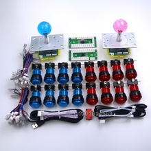 New Arcade DIY Kits Parts USB PC Encoder + 5 Pin 2/4/8 Way Joysticks + 16 x LED Light Illuminated Push Buttons For Fighting Game