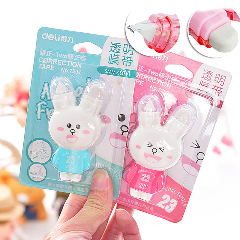 Korean Stationery Kawaii Cute Cartoon Rabbit Creative Correction Tape With Double Erasers Office School Supplies Corrector