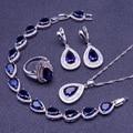 Azul Creado Zafiro Blanco Topaz 925 Sterling Sliver Sistemas de La Joyería Para Las Mujeres Pendientes/Colgante/Collar/Anillos/pulsera de Caja Libre