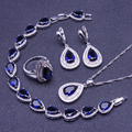 Blue Created Sapphire White Topaz 925 Sterling Sliver Jewelry Sets For Women Earrings/Pendant/Necklace/Rings/Bracelet Free Box