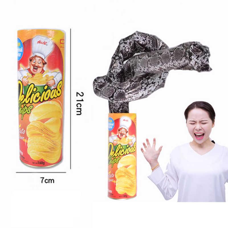 Горячие продажи Картофеля Чип змея игрушка Забавный розыгрыш игрушечные лошадки подарок Волшебные трюки закрыть легко сделать маг интересные забавные трюк