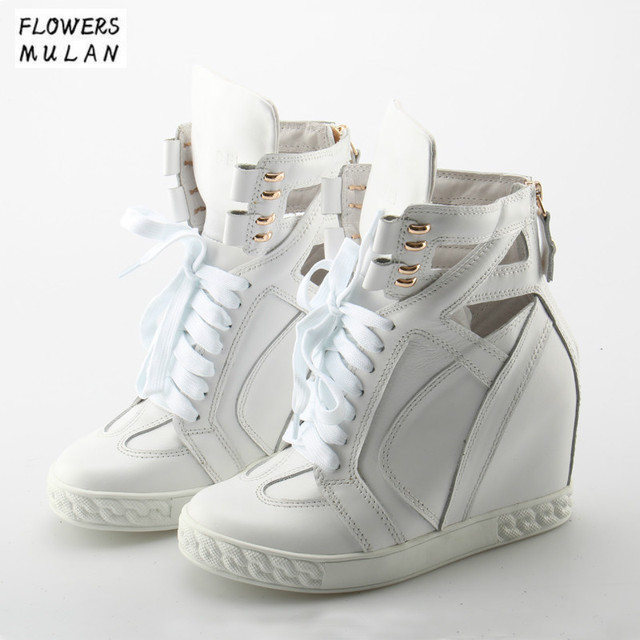 ac4d7ef1f644 2018 Fashion Name Brand Designer White Pink Woman Leather Women s Shoes  Hidden Heels Height Increase Wedges Ankle Boots Women