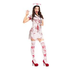 Image 4 - Women Adult  Bloody Zombie Hacker Nurse Halloween Costume