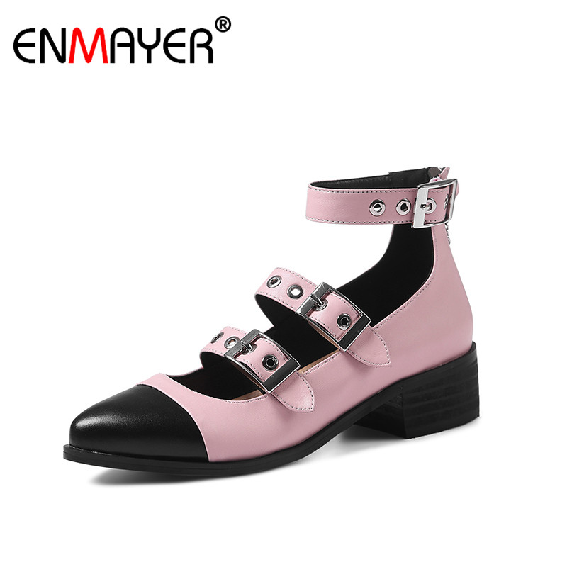 ENMAYER Buckle Strap Cover Heel Zipper Cross-tied Genuine Leather Shoes Women Hot Fashion Summer Women Sandals for Party Casual 2017 new arrival hot sale fashion summer sweet women flats heel sandals pu leather casual buckle strap shoes for women 13 30