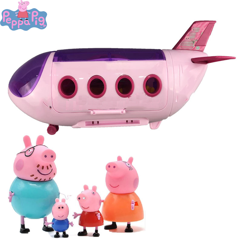 4pcs Peppa Pig Doll House George Guinea Aircraft Set Pig Family Pack Action Figure Original Pelucia Anime Toy For Children 2P03
