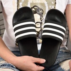 Image 4 - ASIFN Mens Slippers EVA Men Shoes Women Couple Flip Flops Soft Black White Stripes Casual Summer Male Chaussures Femme Slides