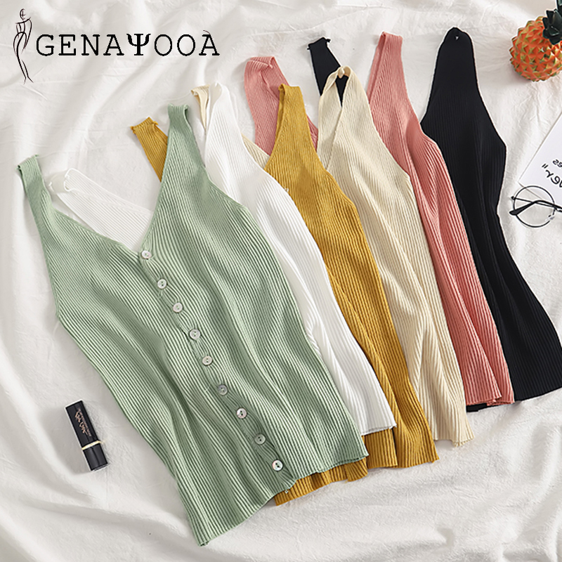 Genayooa Vogue High Quality Sleeveless   Top   Women with Buttons Knitted Elastic V Neck Casual   Tank     Tops   Women Summer Harajuku 2019
