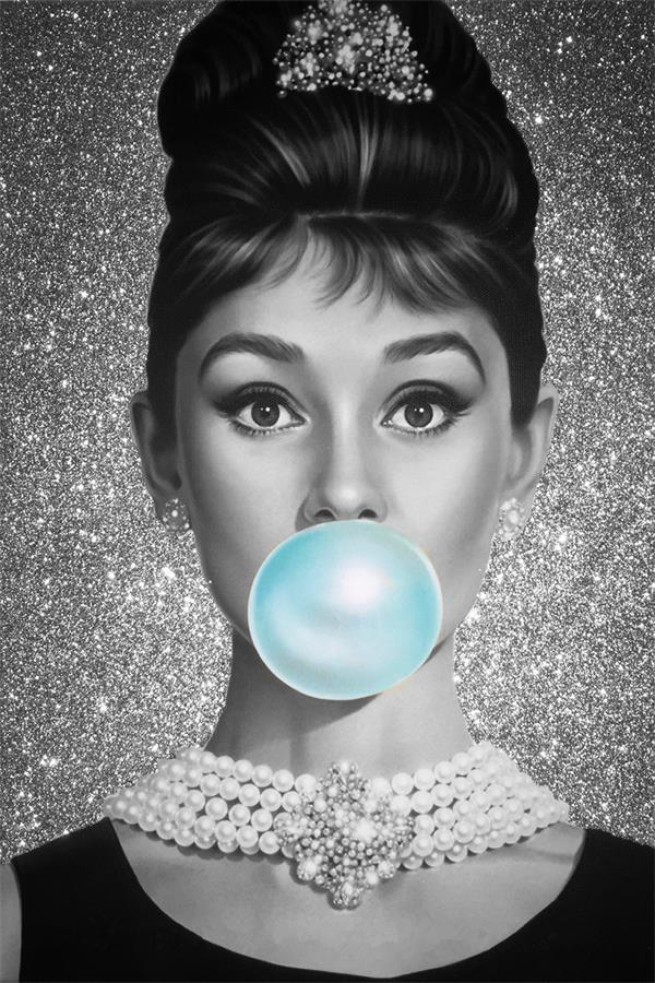 Us 467 22 Offcustom Printing Canvas Wall Decals Bubble Hepburn Poster Audrey Decor Pin Up Girl Stickers Mural Sexy Star Woman Wallpaper In Wall