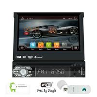 Single One Din Android 6.0 Car DVD Player Quad core Autoradio Bluetooth 7'' GPS Head Unit support Wifi 1080P Video + 3G Dongle