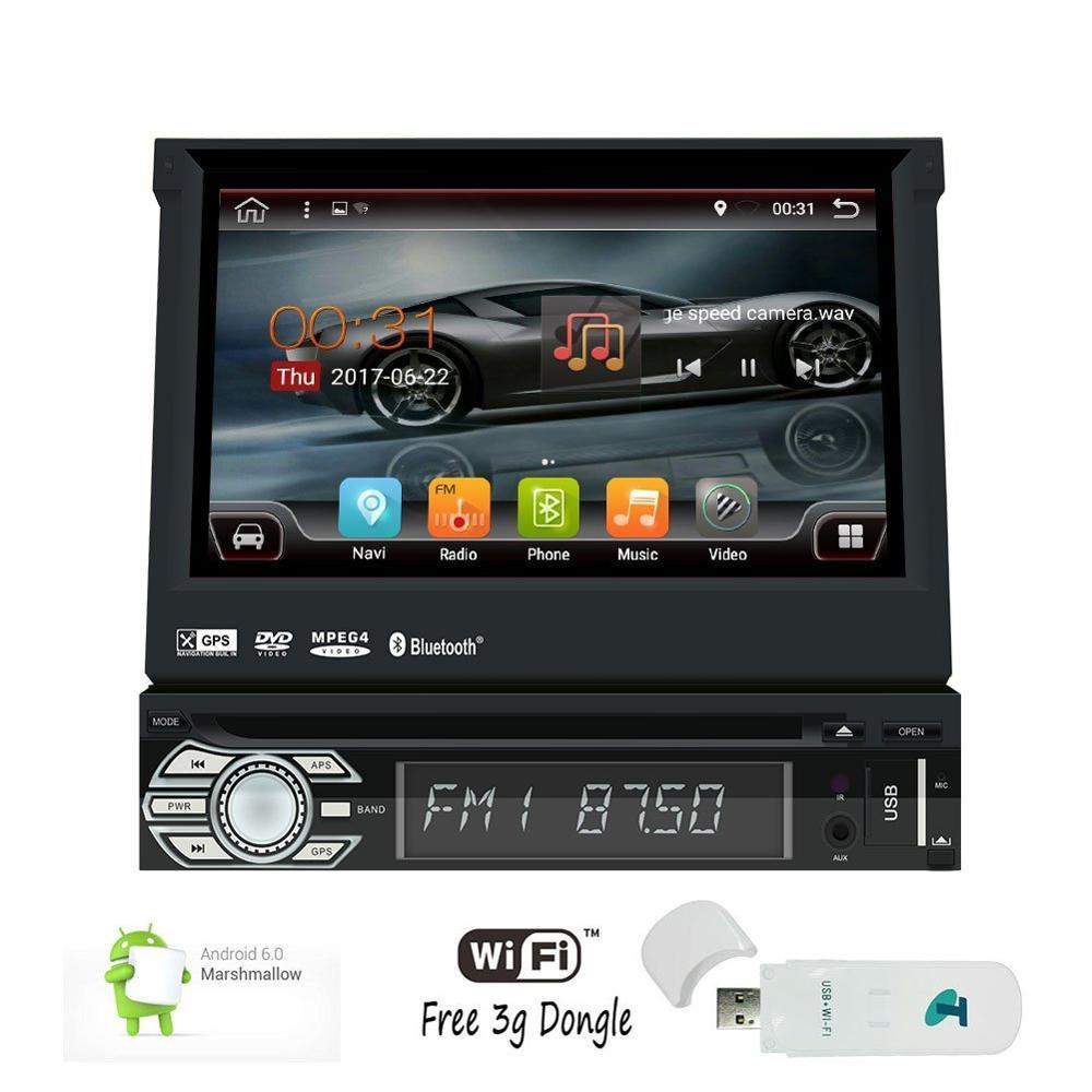 Un seul lecteur DVD de voiture Din Android 6.0 Autoradio Bluetooth Quad-core 7 ''GPS unité de tête prise en charge Wifi 1080 P vidéo + 3G Dongle