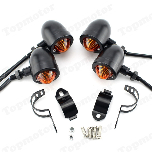 Мотоцикл черный Пуля поворотов Индикаторы свет лампы подходит для Harley Dyna Honda CB Yamaha Suzuki Kawasaki пользовательские Универсальный