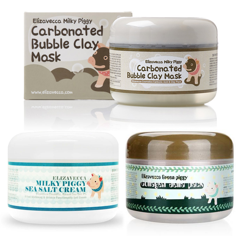 Elizavecca Milky Piggy Carbonated Bubble Clay Mask 100g Green Piggy Collagen Jella Pack 100g Aqua Brightening Mask