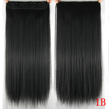 Soowee 60cm Long Straight Women Clip in Hair Extensions Black Brown High Tempreture Synthetic Hair Piece 4