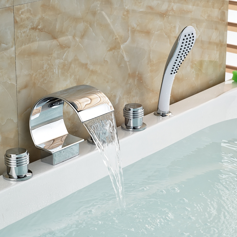 Widespread Chrome Brass C Curved Waterfall Bathroom Tub Faucet Hand ...