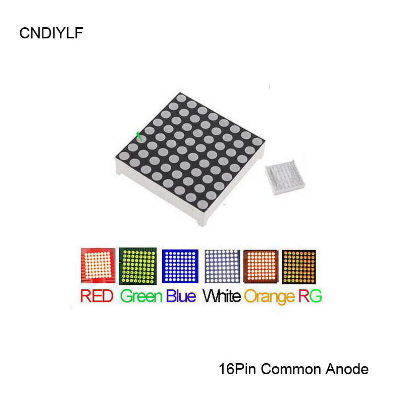 Full Color 3mm LED Dot Matrix Display 16 Pin Common Anode Fast Delivery 2pcs/lot, Red,Green,Blue,Orange,White,RG Available