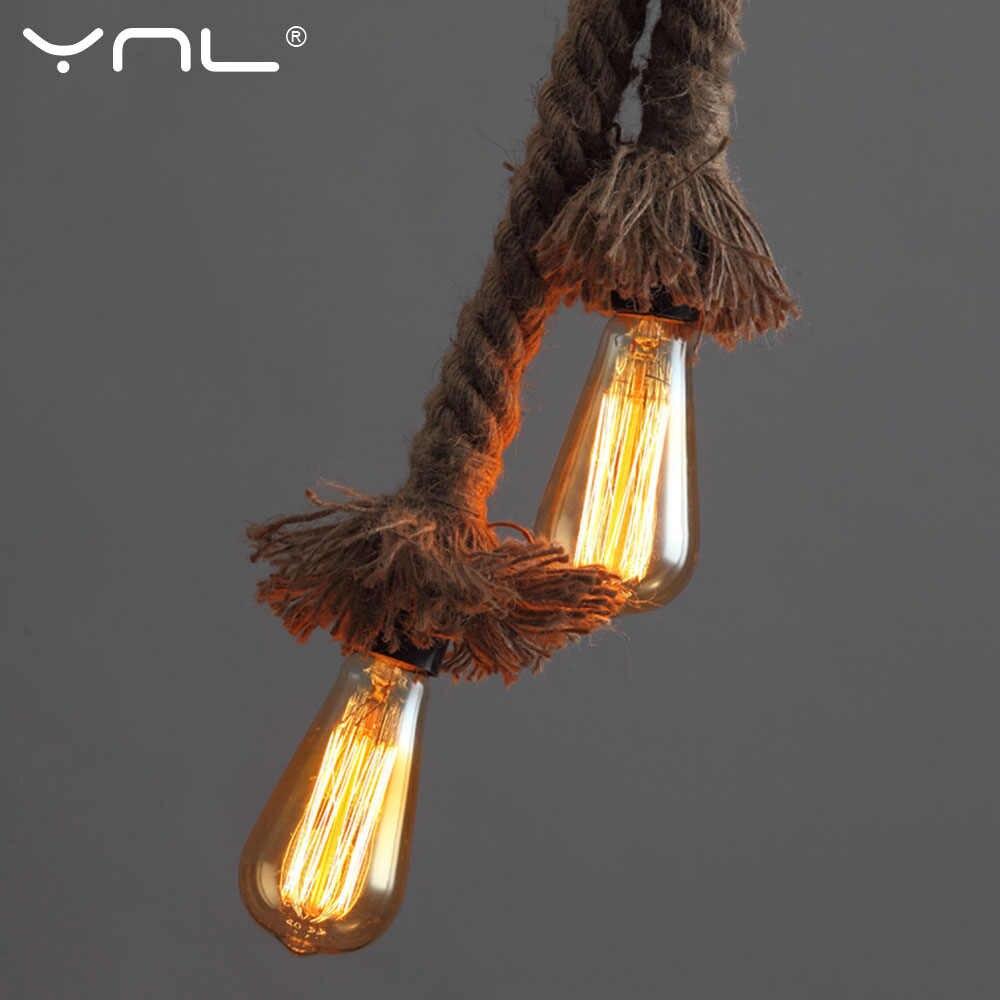 خمر حبل القنب قلادة ضوء AC90-260V E27 Loft الإبداعية شخصية مصباح صناعي على شكل قلادة الرجعية غرفة المعيشة مصباح معلق